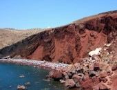 Cheap flights to Santorini: Red sand beach