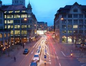 Cheap flights to Zurich: City streets at night