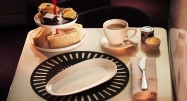 Tea time onboard Virgin Atlantic