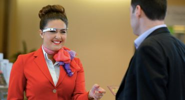 Spec-tacular! Virgin Atlantic staff don the Google Glass