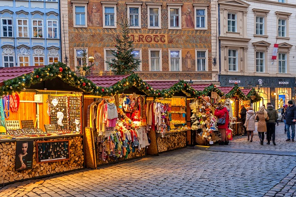 Prague christmas market stalls