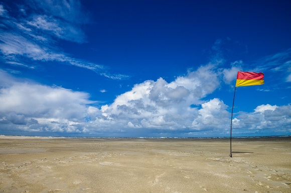Safety flag on beach