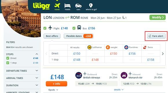 Liligo.com price alert