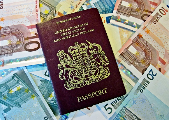 Passport and euros foreign currency