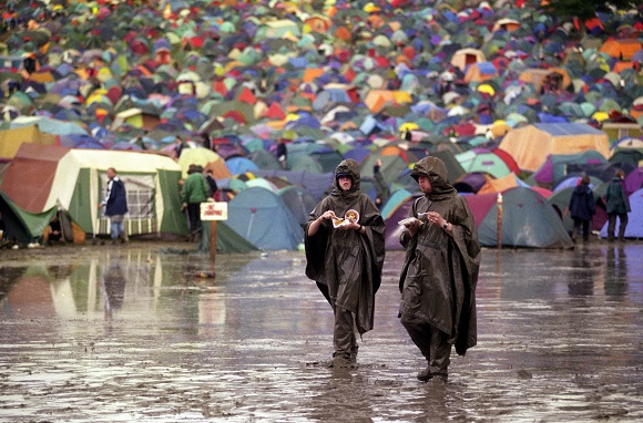 Glastonbury festival in the mud