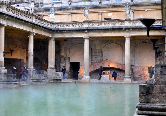 The Roman Bath complex in Bath England