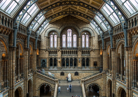 Interior of the Natural History Museum in London, England