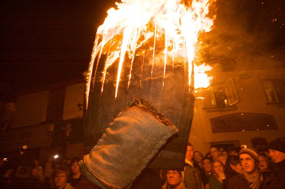 Flaming Tar Barrels at Ottery St Mary