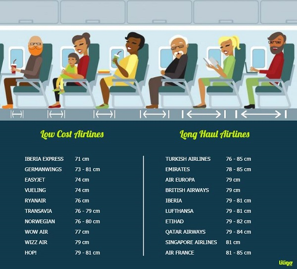 Airline leg space infographic