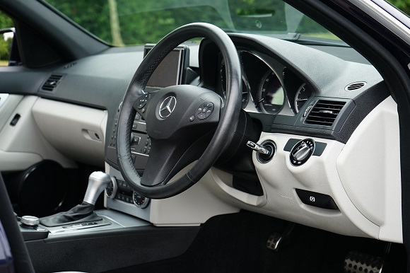 Car interior steering wheel